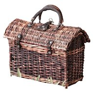 Early 1900s French Wicker and Leather Handwoven Hand Bag - Chemin de Fer - Small Size