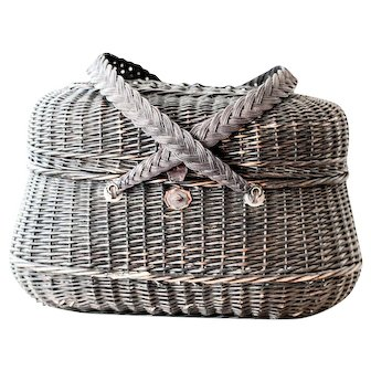 Early 1900s French Wicker Basket - Antique Picnic Basket - French Country Basket