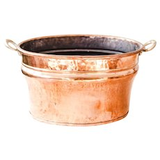 Vintage French Hammered Copper Planter or Champagne Bucket with Brass Handles