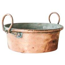 Antique French Cast Iron Copper Pot - Country Kitchen Decor - Copper Planter