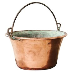 Vintage French Copper Hanging Bucket - Copper Hanging Planter