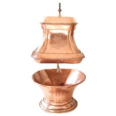 Vintage French Copper and Brass Wall Hanging Fountain and Basin - French Chateau Decor