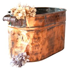 Vintage Copper Rome Boiler Tub with Wooden Handles - Cleaned with Beautiful Patina - Shabby Wine and Champagne Bucket