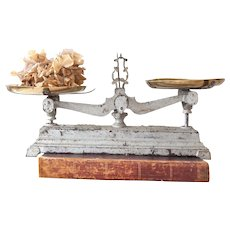 Vintage French Small Cast Iron Kitchen Scale with Brass Trays - Silver Patina