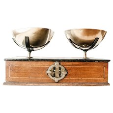 Early 1900s French Family Scale - Veneered Wooden and Brass Trays - 1 Kilo Strength - Napoleon III Scale