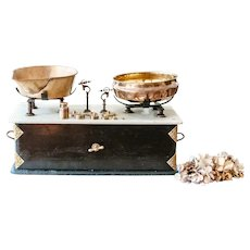 Stunning Victorian Kitchen Scale with 9 Brass Weights and Marble Top - Farmhouse and Country Kitchen