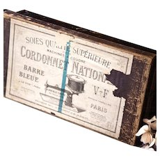 Early 1900s French Wooden Retail Display Box - Silk Sewing Thread - Cordonnet National Paris