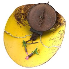 Early 1900s Pelouze Dairy Hanging Scale - Yellow Scoop - Country or Farmhouse Decor