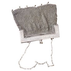 Antique French Silvered Crocheted Mesh Purse