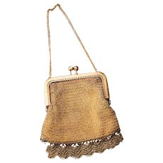 French Gold Plated Crocheted Mesh Purse or Wallet