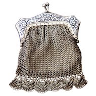 Silvered Crocheted Mesh Wallet - Extra Small - Brooch / Jewelry - Made in Germany