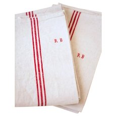 3 Vintage Rustic French Tea Towel – Pure Linen - Unused - Monogrammed R B
