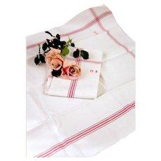 2 Vintage French Tea Towels – Pure Metis Linen – Light Ecru / Red Stripes - Unused - Monogrammed M B