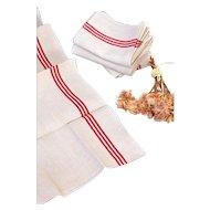 2 Vintage French Rustic Tea Towels – Pure Linen – Unused – No Monogram