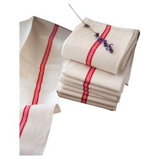 2 Vintage French Tea Towels – Pure Linen – Unused – No Monogram