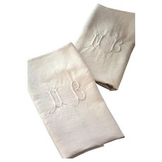 2 Vintage French Linen Towels - XL Size - Monogrammed MB - Ultra Soft - Country Chic Kitchen