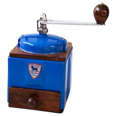 1950's Peugeot French Coffee Grinder / Mill - Electric Blue