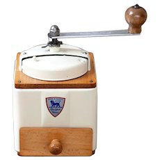 1950's Peugeot French Coffee Grinder / Mill - Ivory / Cream