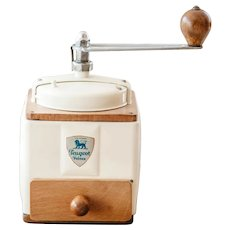 1950's Peugeot French Coffee Grinder / Mill - Ivory / Cream - Fully Restored - Original Logo