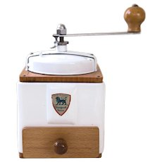 1950's Peugeot French Coffee Grinder / Mill - Pure White