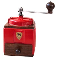 1950's Peugeot French Coffee Grinder / Mill - Striking Red 1950s