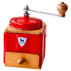 1950's Peugeot French Coffee Grinder / Mill - Striking Red 1950s - Fully Restored