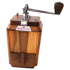930's Peugeot French Coffee Mill - RIC With Walnut Wood - Art Deco Shape