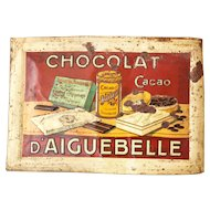 Early 1900s French Large Embossed Advertising Tin - Chocolat d'Aiguebelle - Shabby and Country Decor