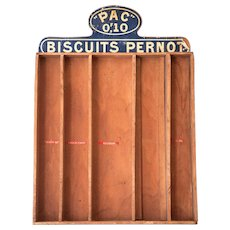 Early 1900s French Wooden Retail Cookie Display - Biscuits Pernot - Shabby and Country Decor