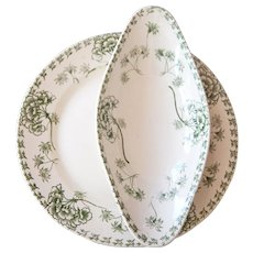 Early 1900s French Ironstone and Green Transferware Cake Stand with Serving Dish - Sarreguemines Palmyre