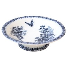 1800s French Ironstone Cake Stand - Flow Blue - Blue Transferware - Butterflies