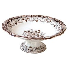 Late 1800s French Ironstone Cake Stand - Brown Transferware - Jules Vuillard Bordeaux - Service Louis XV
