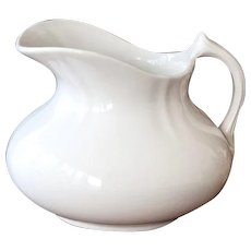 Reserved for B - Early 1900s French Ironstone Water Pitcher - Faiencerie d'Onnaing - Shabby Chic White