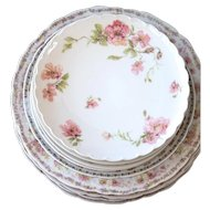 Vintage Porcelain Plate Set - 9 Pieces - Limoges Haviland and Rosenthal & Co Bavaria - Shabby Chic Table