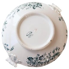 Late 1800s French Ironstone Tureen without Lid - Blue Transferware - Birds - Longwy Mignon -