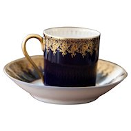 8 Limoges Porcelain Teacups / Demitasses and Saucers - Cobalt Royal Blue and 22k Gold - Deluxe Espresso cups