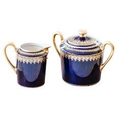 Vintage Limoges Tea / Coffee Set - Creamer and Sugar Bowl - Cobalt Royal Blue and 22k Gold - J. B. Granger