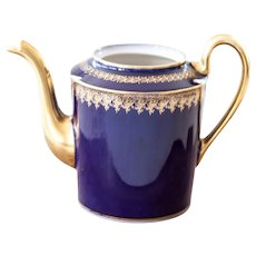 Vintage Limoges Tea / Coffee Pot - Topless - Cobalt Royal Blue and 22k Gold - J. B. Granger - Beautiful porcelain vase