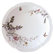 Late 1800s Vintage Haviland Morel Porcelain Cake Stand - Butterfly and Flowers