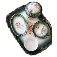 Easy 1900s Dresser Set - 5 Pieces Porcelain Set - Alfred B Pearce & Co Heathcote
