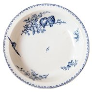 Early 1900s French Ironstone Large Serving Round Dish - Sarreguemines Favori - Blue Transferware