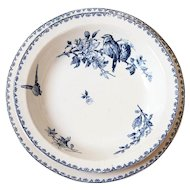Early 1900s French Ironstone Large Serving Round Dishes - Set of 2 - Sarreguemines Favori - Blue Transferware
