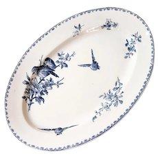 Early 1900s French Ironstone Large Platter - Sarreguemines Favori - Blue Transferware