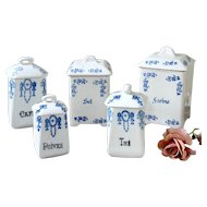5 Vintage French Kitchen Ceramic Nesting Canisters - 1920s Saint Uze