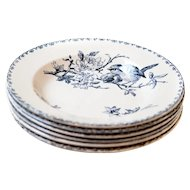 Early 1900s Ironstone Soup Plates / Bowl - Set of Six - Sarreguemines Favori - Blue Transferware - Free Shipping Within the USA