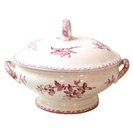 Early 1900s French Small Ironstone Tureen - Sarreguemines Favori - Red Transferware