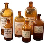 1950s French Amber Bottles - Perfume Ingredients from Grasse - Set of 6  - Shabby Chic Decor