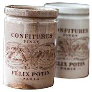 1920s French Stoneware Jam Pot - Felix Potin - Confitures Fines - Paris - Lunéville - Brown Transferware