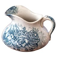 Antique French Ironstone Water Pitcher - Blue Transferware - Early 1900s - Jardiniere Pattern