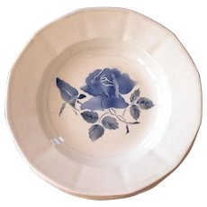 1940s Ironstone French Soup Bowls - Set of 5 - Digoin - Blue Flowers